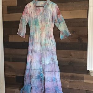Colorful cotton Tie dye boho dress